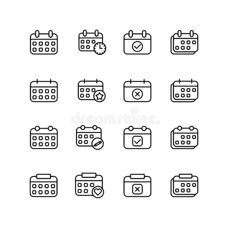 Set of calendar line icon design, black outline vector icons, isolated against the white background, agenda date mark vector. vector illustration
