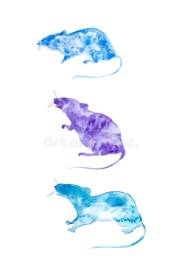 Set for calendar of three abstract rats. Symbol of 2020 new year.Set for winter season: December,January,February. Watercolor royalty free stock photo