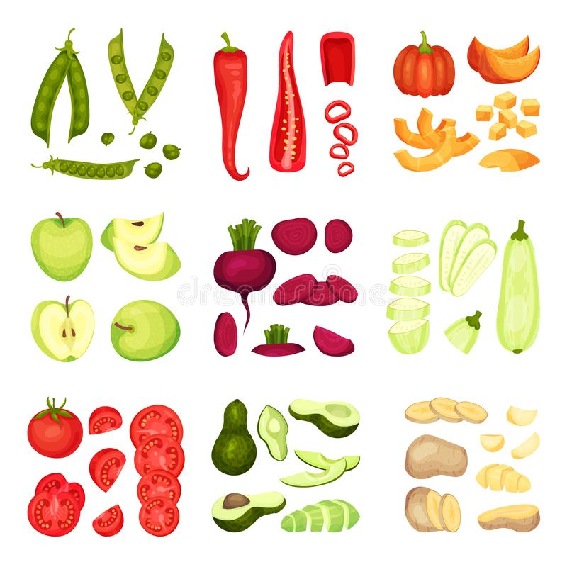 Set cali i pokrojeni warzywa t?a ilustracyjny rekinu wektoru biel ilustracji