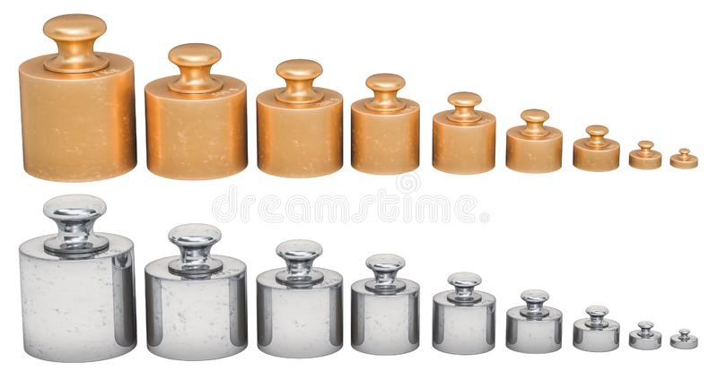 Set of Calibration Weights from brass and stainless steel, 3D rendering. Isolated on white background stock illustration
