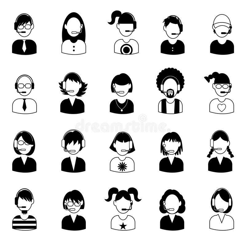 Set of call center operator icons. vector. stock illustration