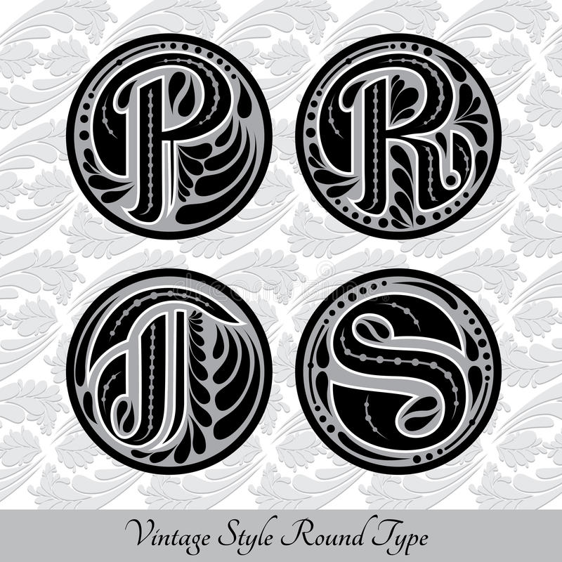 Download Set Of Calligraphic Capital Letters With Abstract Pattrn Into Round Shapes