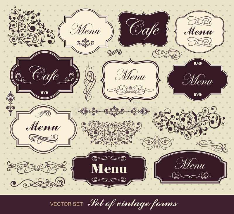 Set of calligraphic design elements vector illustration