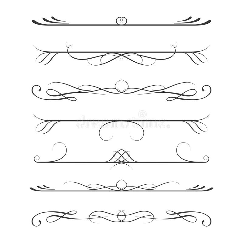 Set of calligraphic design elements- dividers,Thin line decoration objects royalty free illustration
