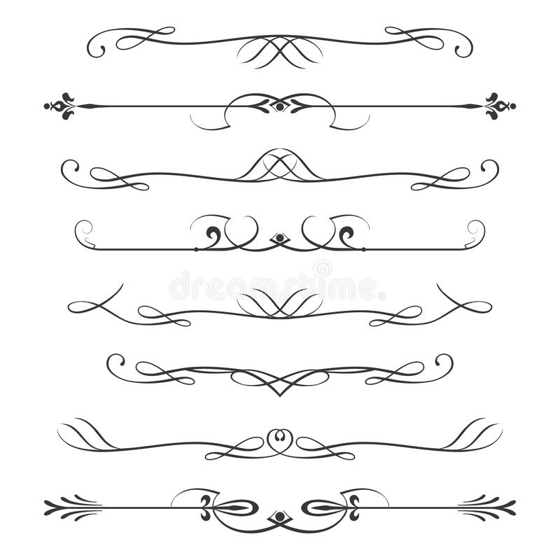 Set of calligraphic design elements- dividers,Thin line decoration objects stock illustration