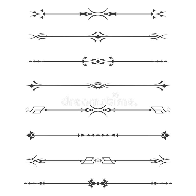Set of calligraphic design elements- dividers,Thin line decoration objects vector illustration