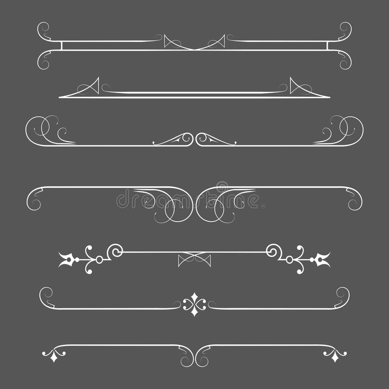 Set of calligraphic design elements and page decor. stock illustration