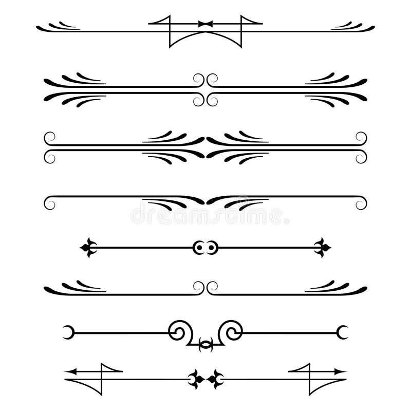 Set of calligraphic design elements and page decor royalty free illustration