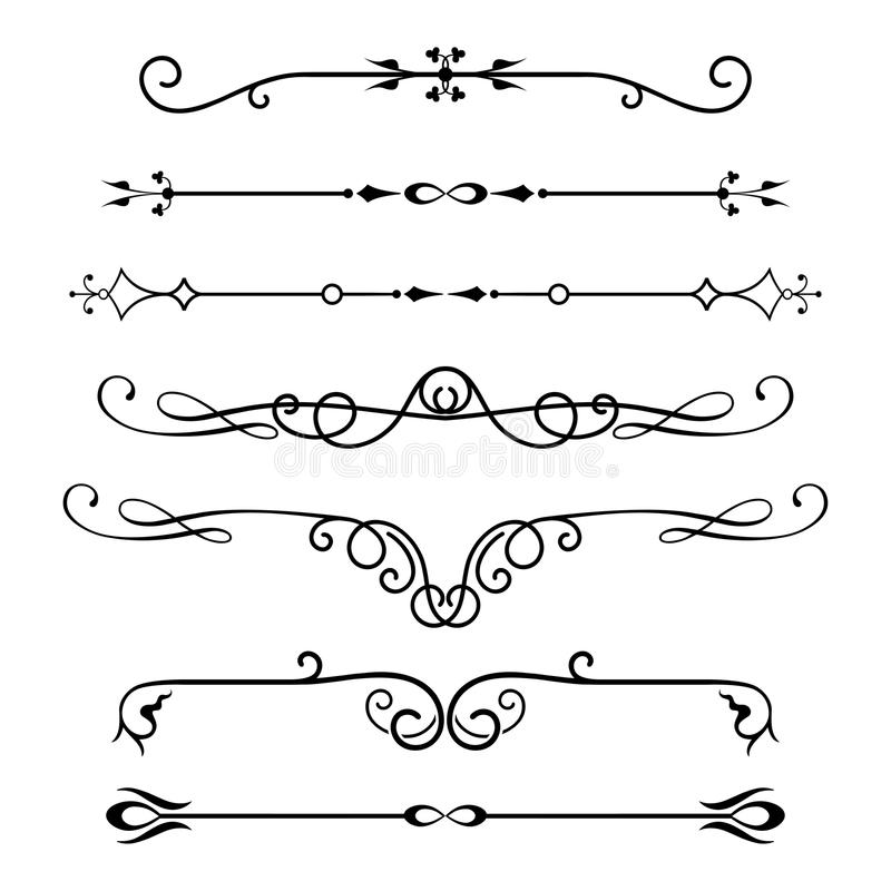 Set of calligraphic design elements and page decor. vector illustration