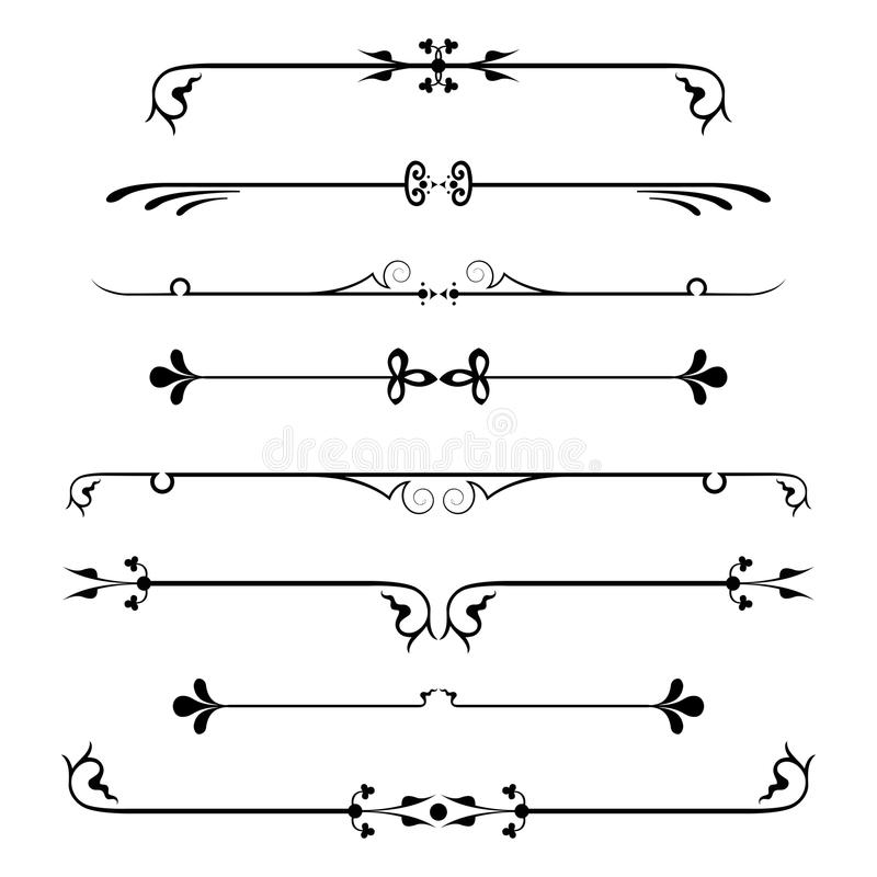 Set of calligraphic design elements and page decor. royalty free illustration