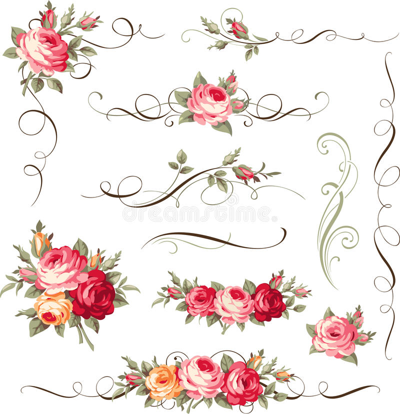 Set of calligraphic floral elements. Ornament with vintage roses for page decor royalty free illustration