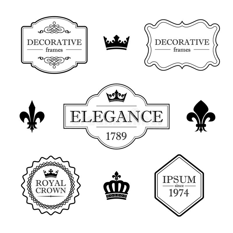 Set of calligraphic flourish design elements - fleur de lis, crowns, frames and borders - decorative vintage style vector illustration