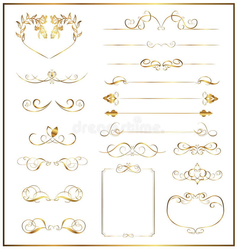 Set calligraphic gold. On white background stock illustration