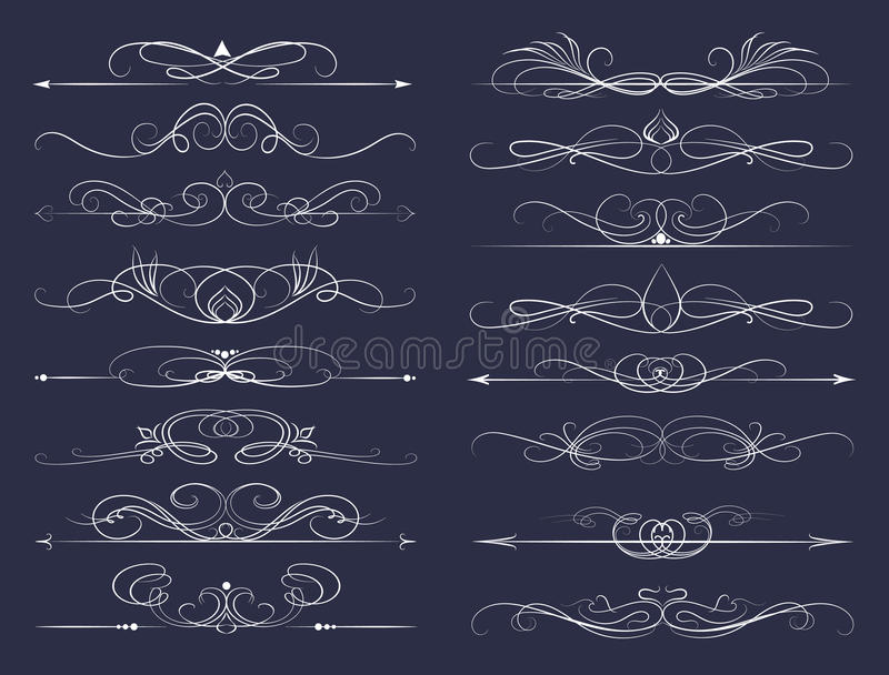 Set of Calligraphic lines stock illustration