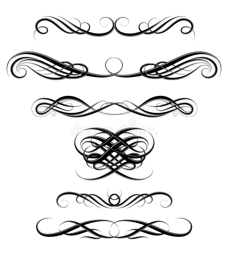Set of calligraphic swirls stock vector image