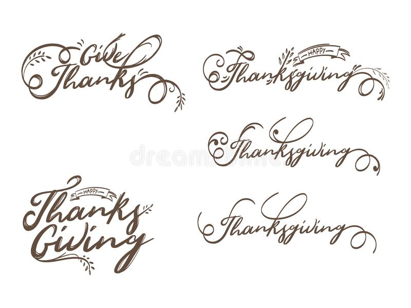 Set of calligraphy text Happy Thanksgiving. stock illustration