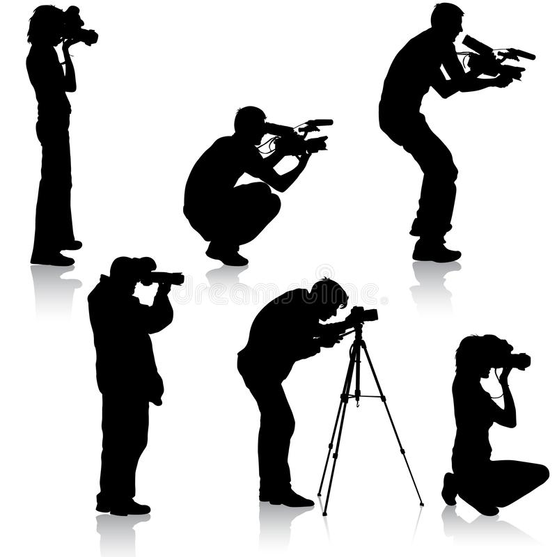 Set cameraman with video camera. Silhouettes on white background. Vector illustration stock photos