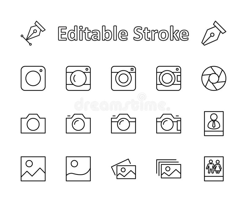 Set of cameras and photo, vector line icons. Contains symbols of portraits and family photos and much more. Editable move. 32x32 p stock photo