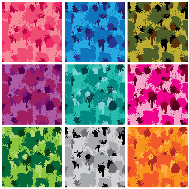 Set of camouflage fabric patterns - different colors. royalty free illustration