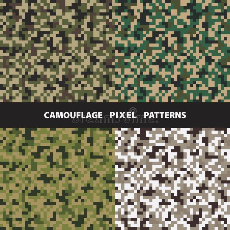 Set of camouflage pixel seamless patterns. royalty free illustration