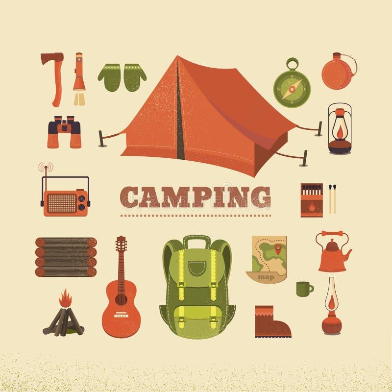 Set camping ilustracji