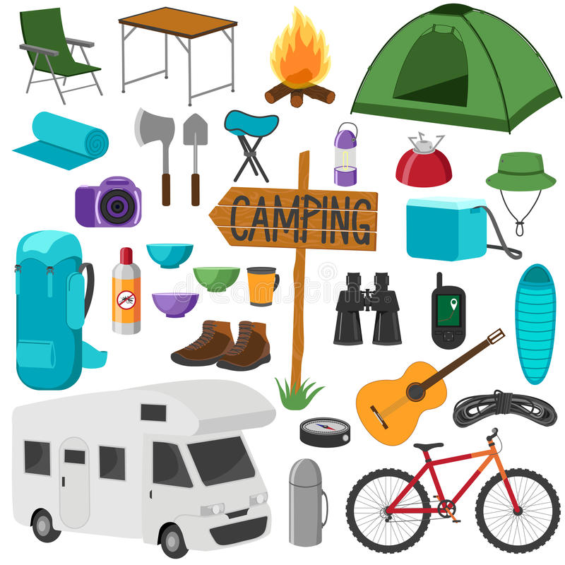 Download Set Of Camping Equipment Symbols Hike Collection Stock Vector