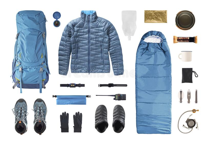 Set Of Camping Equipment And Trekking Gear Stock Photo Image Of Background Blue 174578048