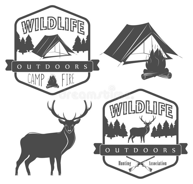 Set of camping and hunting label, wildlife and outdoors adventure stock illustration