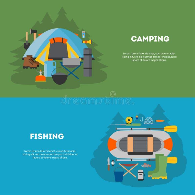 Set camping i fising płaski projekt ilustracja wektor