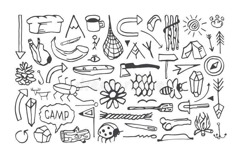 Set of camping icons in the style of hand-drawn graphics stock illustration