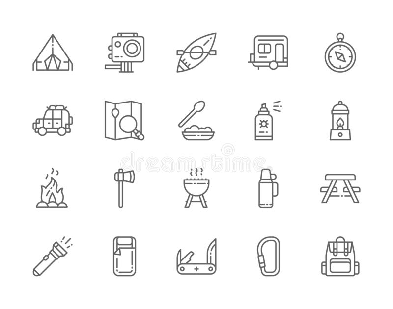 Set of Camping Line Icons. BBQ, Canoe, Trailer, Jackknife, Gas Lamp and more. Set of Camping Line Icons. BBQ, Canoe, Trailer, Off Road Automobile, Gas Lamp vector illustration