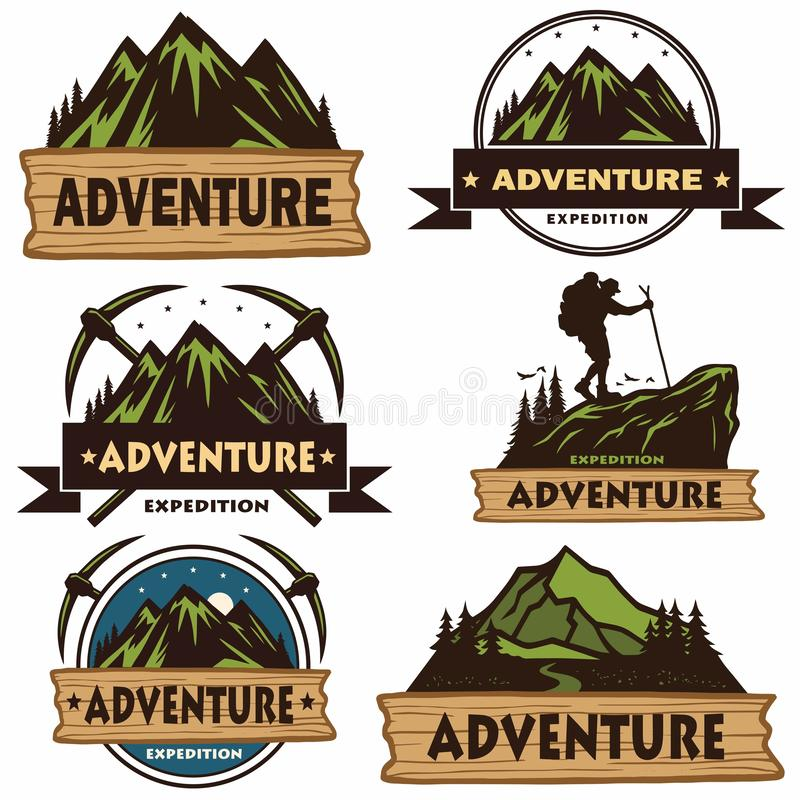 Set of Camping Logos, Templates, Vector Design Elements, Outdoor Adventure Mountains and Forest Expeditions. Vintage Emblems and B stock illustration