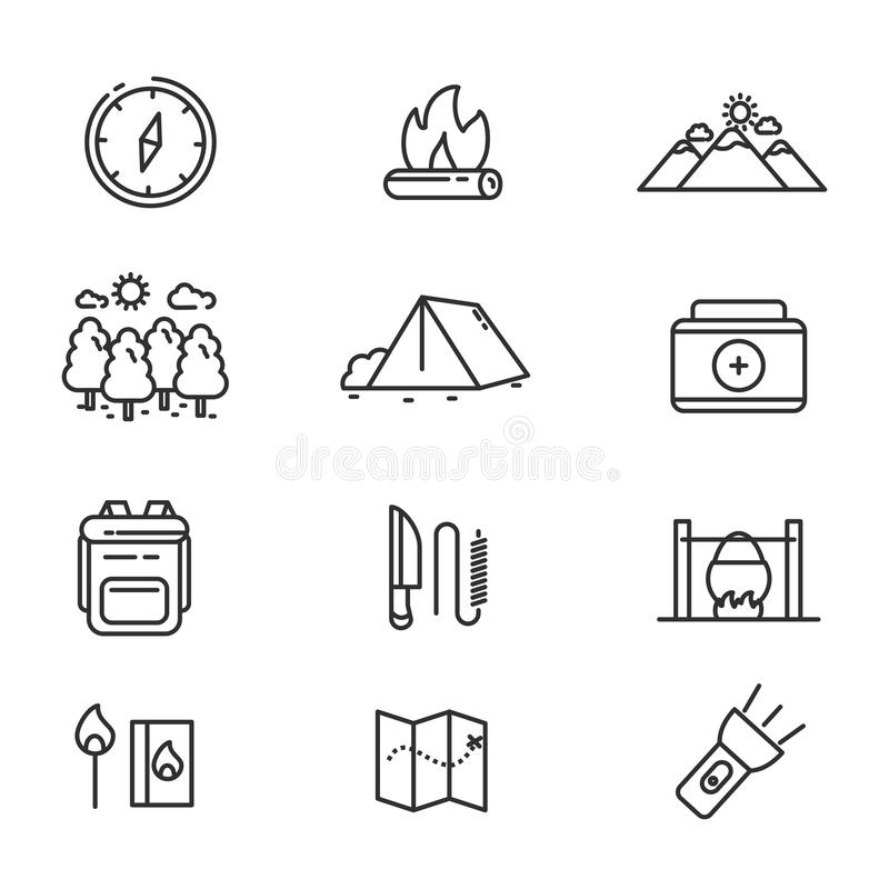 Camping related vector illustration with simple line design. Set of camping related icon line. Camping related vector illustration with simple line design royalty free illustration