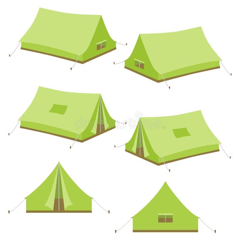 Set campingowego namiotu ikony ilustracja wektor