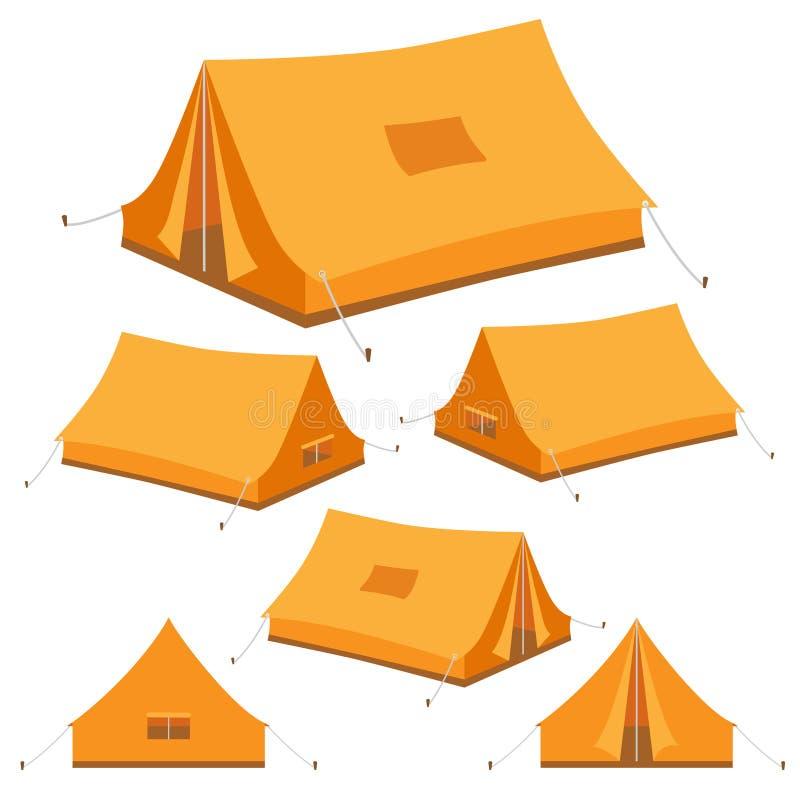 Set campingowego namiotu ikony royalty ilustracja