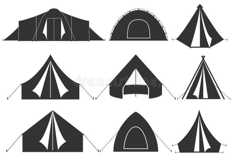 Set campingowego namiotu ikony ilustracji