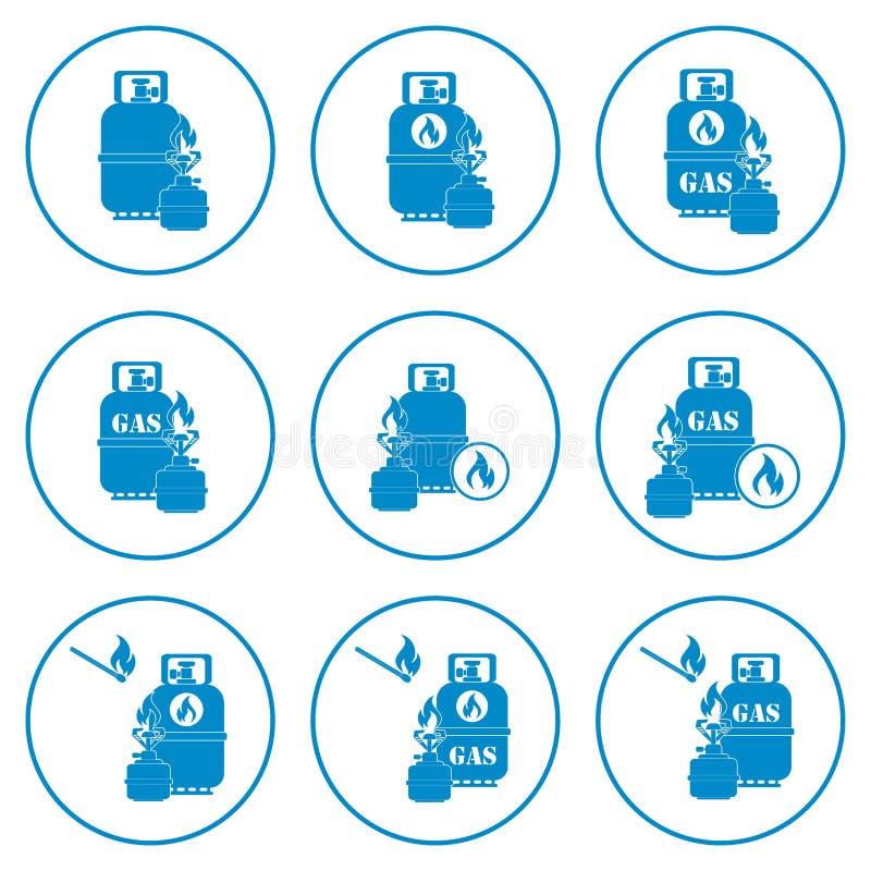 Set campingowej kuchenki i benzynowej butelki ikony ilustracji