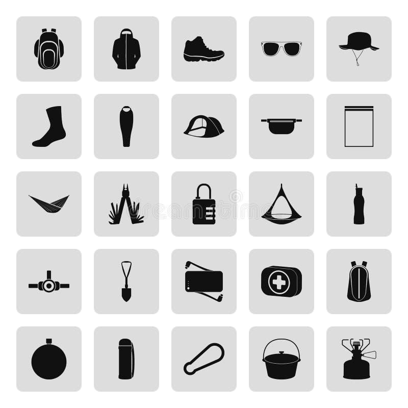 Set campingowi wyposażenie symbole, ikony i zdjęcie stock