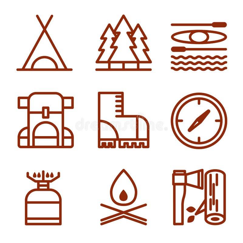 Download Set Campingowi Wyposażenie Symbole Ilustracja Wektor - Ilustracja złożonej z emblemat, flesz: 53786967