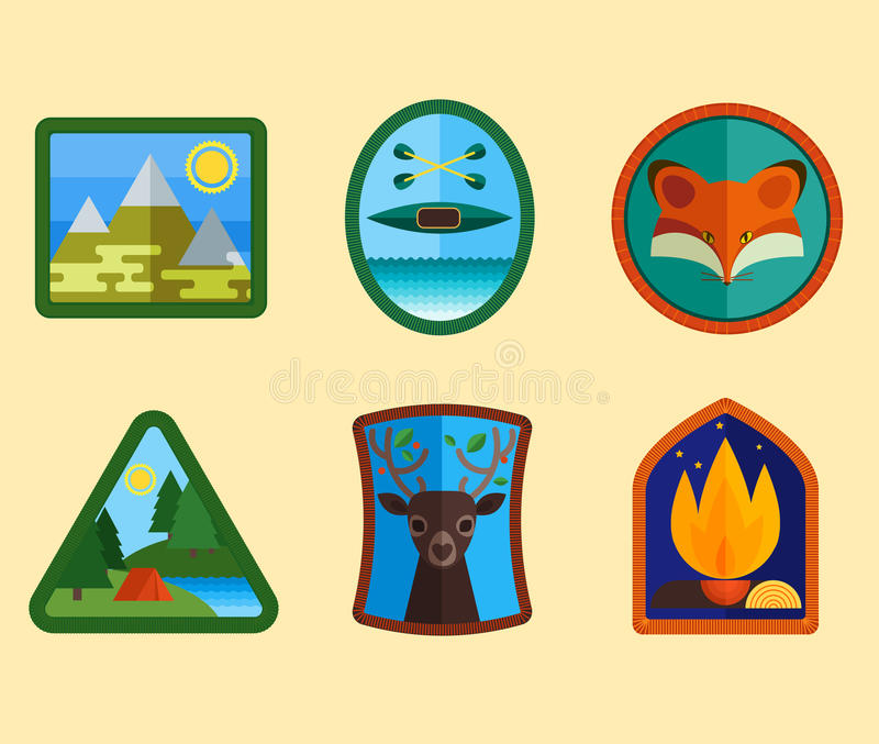 Download Set Campingowi Wyposażenie Symbole Ilustracja Wektor - Ilustracja złożonej z kompas, niecka: 53786970