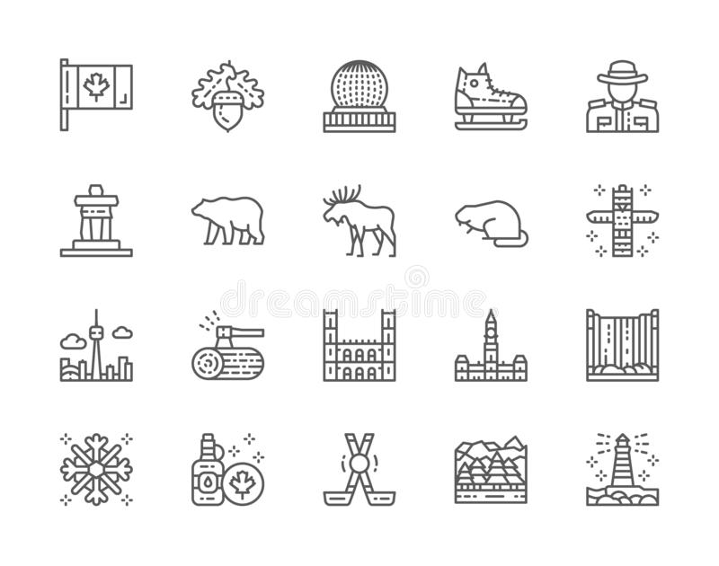 Set of Canadian Culture Line Icons. Sports Equipment, Police, Bear, Elk and more. Set of Canadian Culture Line Icons. Sports Equipment, Police, Bear, Elk, Beaver vector illustration