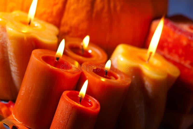 Download Set of Candles and pumpkin stock image. Image of orange - 11550935