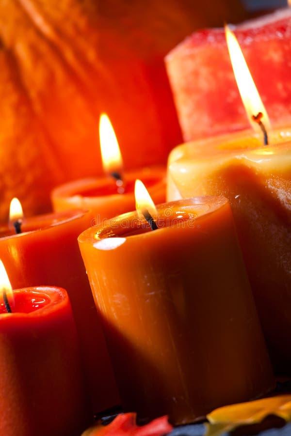 Set Of Candles And Pumpkin Stock Photos