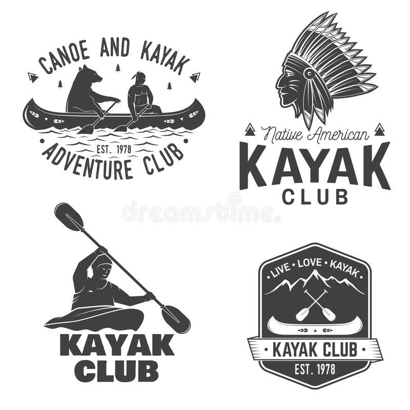 Set of canoe and kayak club badges. Vector. vector illustration