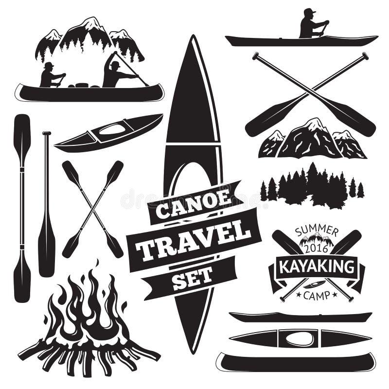 Set of canoe and kayak design elements. stock illustration