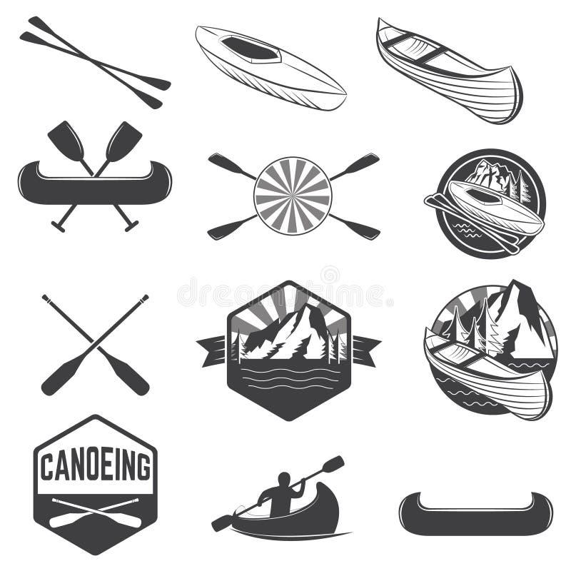Set of canoeing labels and design elements. Kayak labels. Rafting. Vector design elements for label, logo, emblem. Vector illustration royalty free illustration