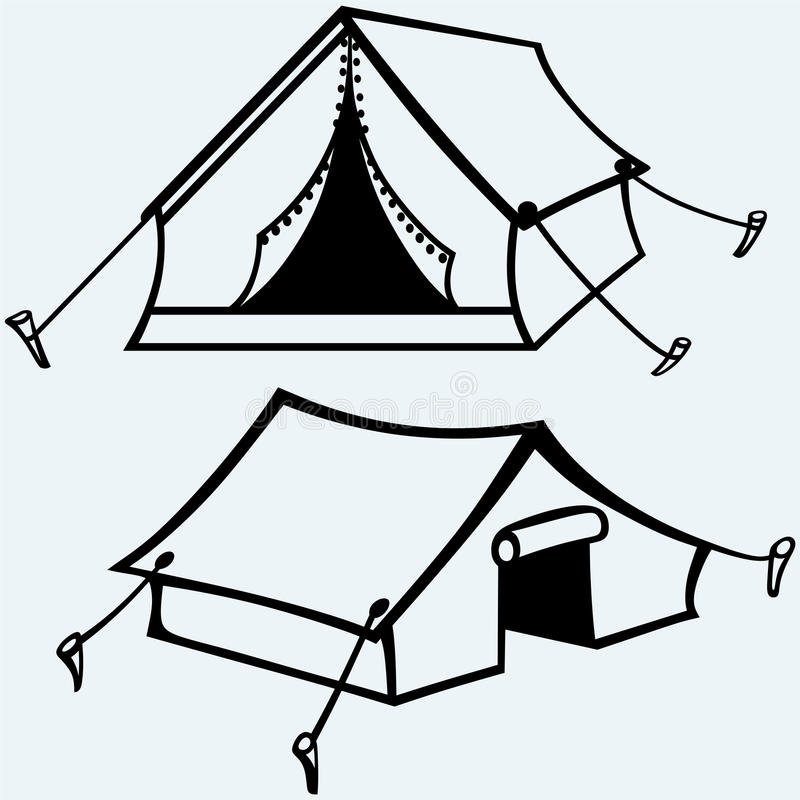 Set of canvas tents. On blue background. Vector silhouettes vector illustration