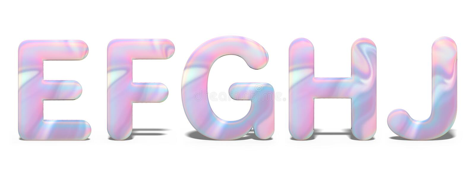 Set of capital letters E, F, G, H, J in bright holographic design, shiny neon alphabet.  royalty free illustration