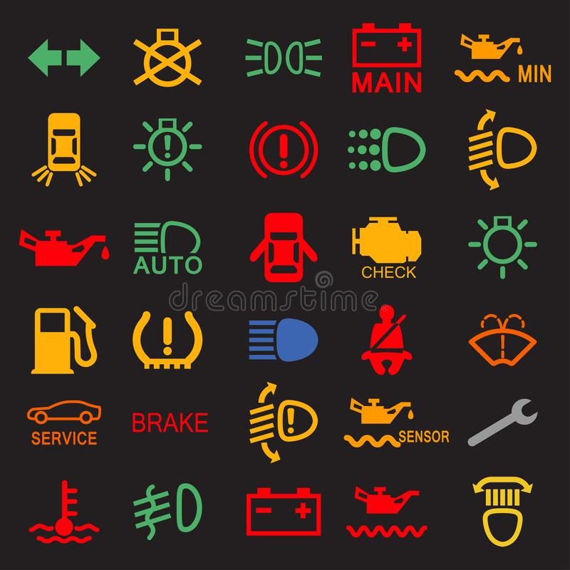 Set of car dashboard panel icons on a black background.  stock illustration