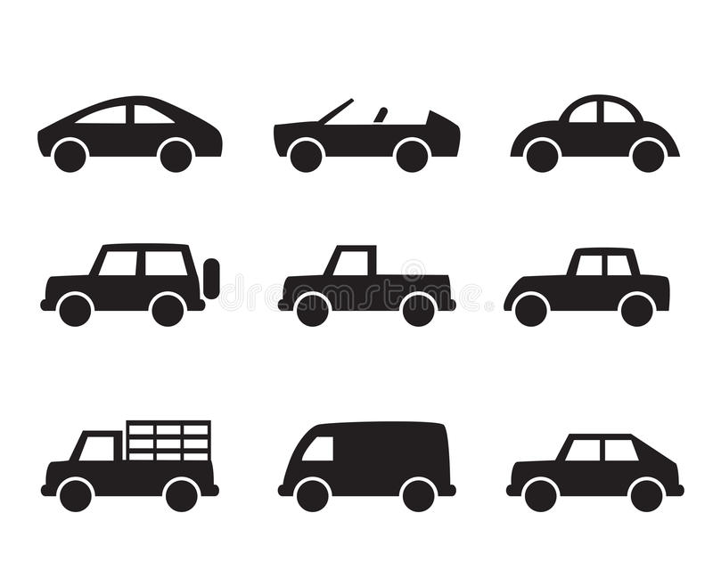 Set of car icons in simple style royalty free illustration